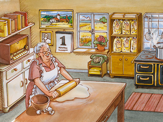 Illustration of grandmother rolling out pasta dough according to the traditional method with regional products.